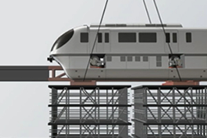Monorail carriage being carried in on the dummy rail