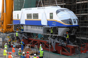 Monorail assembly work on the dummy rail